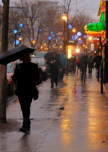 Montreal street in evening