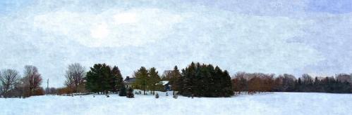 rural snow scene after heavy snowfall